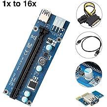 MECO PCI-E Express 1x zu 16x Riser Card Adapter Extender 6-pin 12V SATA Power Kable USB 3.0 Adapterkarte - GPU Grafikkarte Crypto Währung Bergbau, ethereum Bergbau ETH