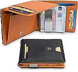TRAVANDO Geldbeutel mit Geldklammer Brisbane Mit großem MÜNZFACH - 8 Kartenfächer - Schlankes Portemonnaie mit RFID Schutz - Geschenk Box - Designed in Germany (Schwarz)