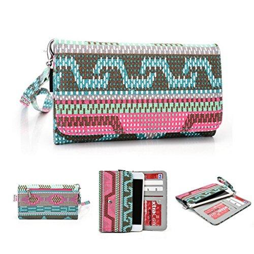 Kroo Téléphone portable Dragonne de transport étui avec porte-cartes compatible avec lame II/S6Plus pour ZTE Grand S Multicolore - rose Multicolore - vert
