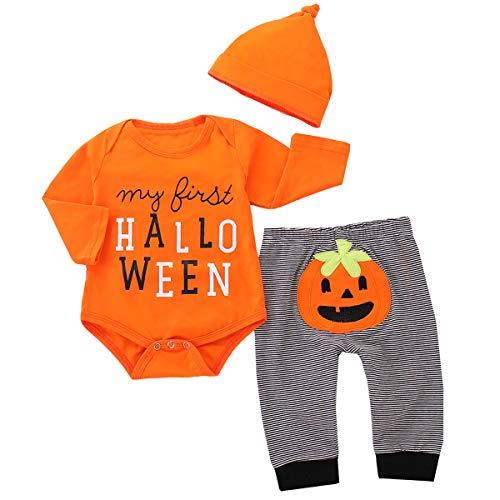 Tianhaik 3-teiliges Set für Neugeborene, Halloween-Kürbis-Kostüm, Strampler + Hose + Mütze Gr. 62, Orange (Halloween-kostüme Jungen 2019)