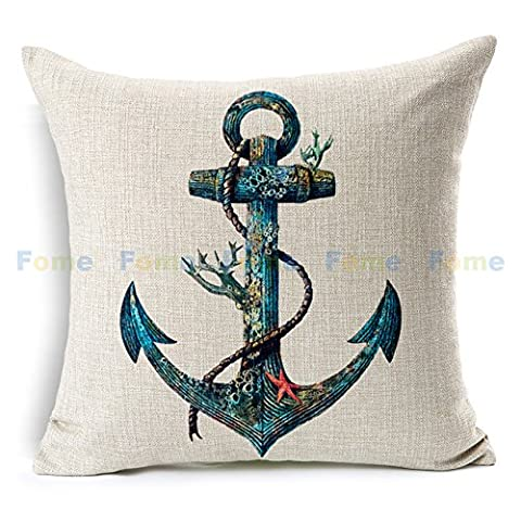 FOME Nautical Cotton Linen Pillow Cushion Caes Cover throw Pillow