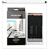 KABEER ART Artist Quality Fine Art Drawing & Sketching Pencils (H-14B), 24 Piece Set