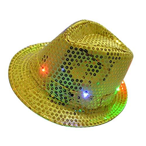 LED-Blitzhut Jazz-Hut Hip-Hop-Tanzmütze Hell erleuchteter Paillettenhut für die Party mit 9 LEDs