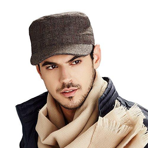 Kenmont automne hiver homme laine couleur unie de golf Visière chapeau militaire