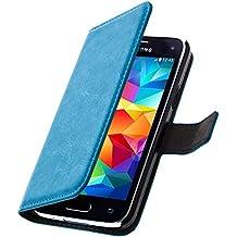 Avizar Custodia a Portafoglio Aspetto Vintage per Samsung Galaxy S5Mini–Blu Turchese