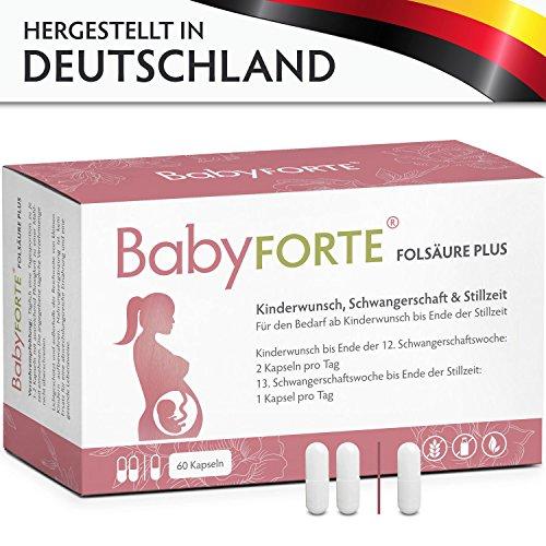 BabyFORTE FolsäurePlus Vitamine • 60 Kapseln • 400/800 mcg Folsäure, Eisen & Jod • Vitamine Kinderwunsch, Schwangerschaft, Stillzeit • Vegan