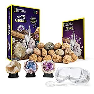 NATIONAL GEOGRAPHIC - Break Open 15 Premium Geodes – Includes Goggles, Detailed Learning Guide and 3 Display Stands - Great STEM Science gift for Mineralogy and Geology enthusiasts of any age