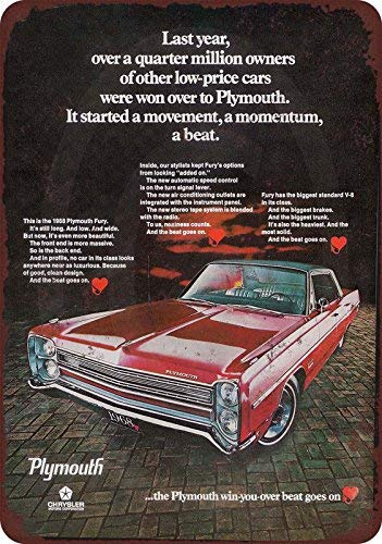 Harvesthouse 1967 Plymouth Fury Vintage Look Reproduction Metal Sign 8 x 12 by