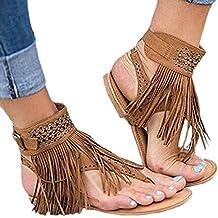 c73d7e1d1ca Gnaixeh Las Mujeres Borlas De Gamuza Tanga Sandalias Planas Chanclas Zapatos  De Flecos