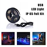 Simfonio USB LED Strip Lights 1M 30LEDs IP65 Waterproof 5050 RGB TV LED Strip With Remote Controller