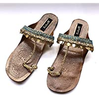 2e97b504f72b0 Enhara Copper Coin Blue Sandals Bohemian Kolhapuri Chappals Leather Sandals  for Women Handmade Slides