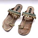 Enhara Copper Coin Blue Sandals Bohemian Kolhapuri Chappals/Leather Sandals for Women/Handmade Slides/Ethnic Indian Flip Flops