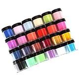 UV Gel Pulver,Jaminy 24 Farben Acryl Nail Art Tips UV Gel Puderstaub Design Dekoration 3D Maniküre