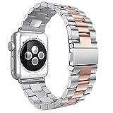 Gytech cinturino compatibile per Apple Watch 42mm serie 1, serie 2, serie 3, cinghie in acciaio inossidabile per bracciale, Oro Rosa