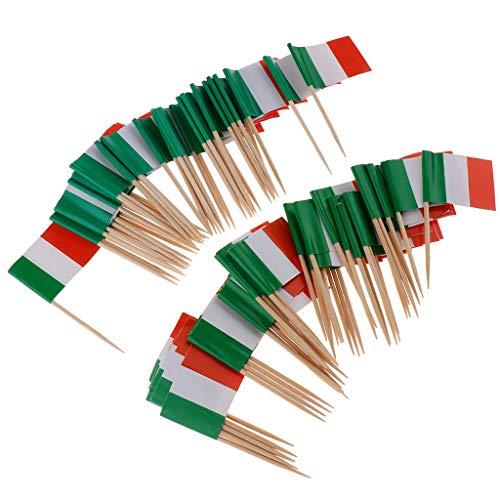 non-brand Baoblaze 100x Nationelle Flagge Sticks Stäbchen Zahnstocher Spieße Dekoration für Cocktail Obst Sandwich Cupcake usw. aus Papier und Holz - Italien