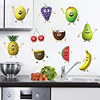 decalmile Kitchen Wall Decals Vegetable Corn Chili Emoji Wall Stickers Peel and Stick Removable Vinyl Wall Art for Kitchen Dining Room