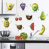 decalmile Stickers Muraux Cuisine Fruit Autocollant Décoratifs Banane Citron Mangue Emoji Décoration Murale Frigo Cuisine Salle à Manger