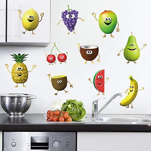 Decalmile Pegatinas Pared Cocina Fruta Emoji Vinilos