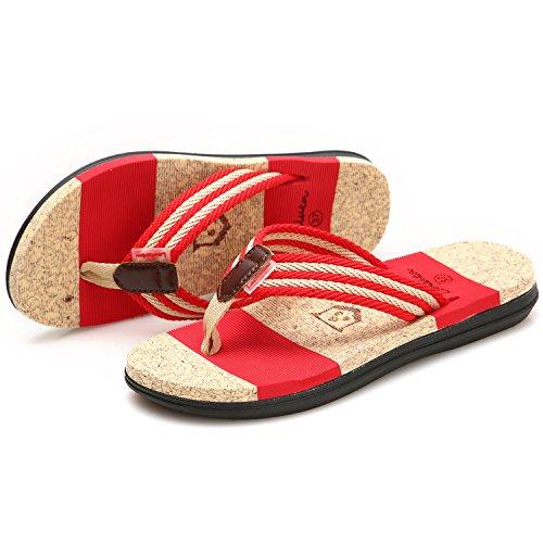GESIMEI Été Plage Tongs Piscine Chaussures Sandales Femme Rouge