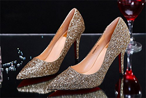 ALUK- Scarpe da sposa - bene con a punta Shallow scarpe da sposa sceglie i pattini della bocca paillettes ( colore : 9.5cm , dimensioni : 39 ) 9.5cm