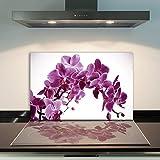 DAMU | Ceranfeldabdeckung 1 Teilig 80x52 cm Herdabdeckplatten aus Glas Orchidee Violett Elektroherd Induktion Herdschutz Spritzschutz Glasplatte Schneidebrett