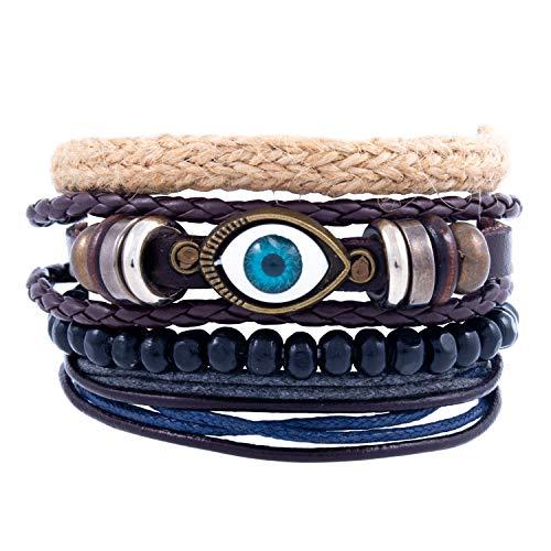 DeMa Jewelry mehrreihiges Armband mit Holzperlen aus Leder I Verschiedene Designs I größenverstellbar I handgefertigt …