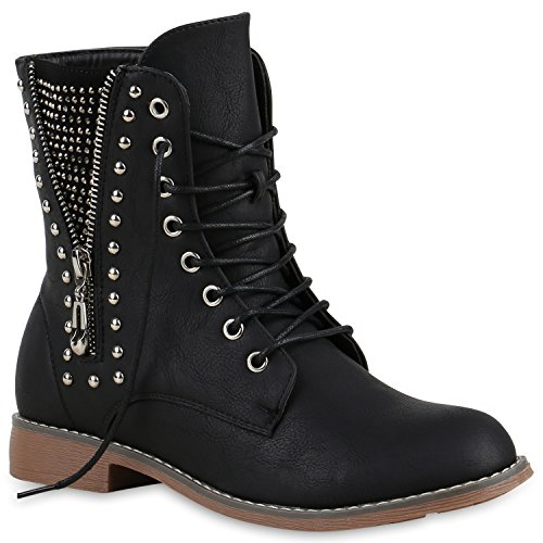 Stivali Paradise Ladies Lace-up Boots Zipper Rivetti Scarpe Strass Lace-up Boots Stivali Cool Look In Pelle Lace-up Flandell Nero Rivetti