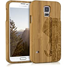 kwmobile Funda para Samsung Galaxy S5 / S5 Neo / S5 LTE+ / S5 Duos - Case protectora de madera bambú - Carcasa dura Diseño estampado elefante en marrón claro