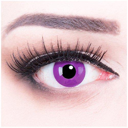 bige lila violette purple Crazy Fun Jahres Kontaktlinsen Purple perfekt zu Fasching, Karneval und Haloween, Halloween. Mit gratis Linsenbehälter! (Haloween Kontaktlinsen)
