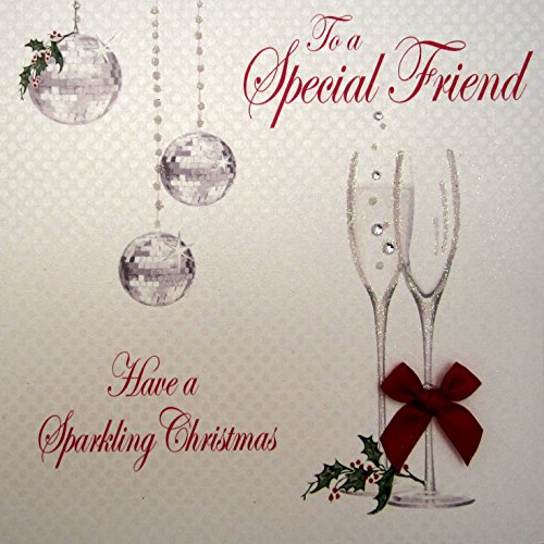 WHITE COTTON CARDS to a Special Friend Have a Sparkling Christmas handgefertigt Champagner Flöten Karte