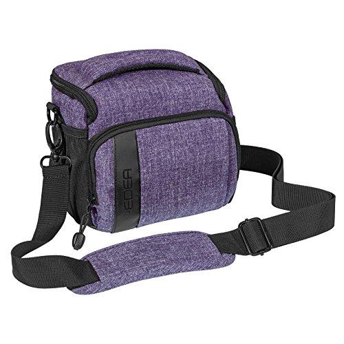 """PEDEA SLR-Kameratasche \""""Fashion\"""" Schultertasche Messenger Kameratasche Umhängetasche Kamera Tasche mit Regenschutz, Tragegurt und Zubehörfächern, Gr. L lila"""