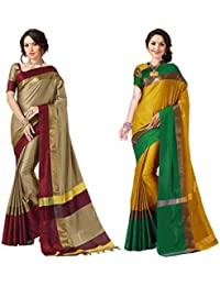 ec400f4092d Art Decor Sarees Women s Cotton Silk Saree (Chiku Red   Yellow Green Pack  of ...