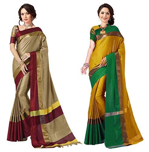 Art Décor Sarees Women's Cotton Silk Saree (Chiku Red & Gold Green_Pack of 2)