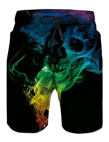 NEWISTAR Homme Short Bain Shorts Séchage Rapide Respirant Exercice Shorts Etanche - Skull - Taille S