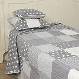 Clayre & Eef Tagesdecke 140x220 - Bett Überwurf - Quilt - Plaid - Patchwork - Bettüberwurf