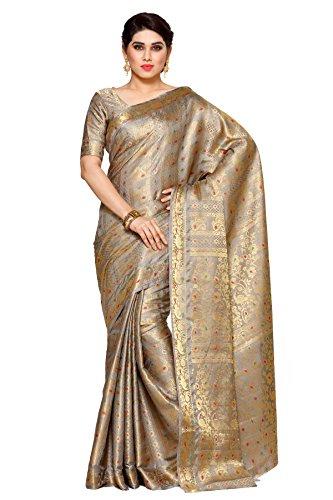 Mimosa By Kupinda Women\'s Art Silk Saree Kanjivaram Style (Latest Designer Sarees /Party wear sarees /New collection sarees) Color:Taupe (4106-220-SD-GREY)