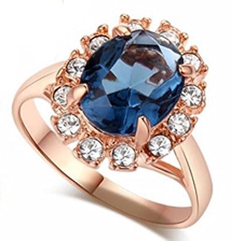 SaySure - 18K Gold Plated Emerald Finger Rings Elegant (SIZE : 10)
