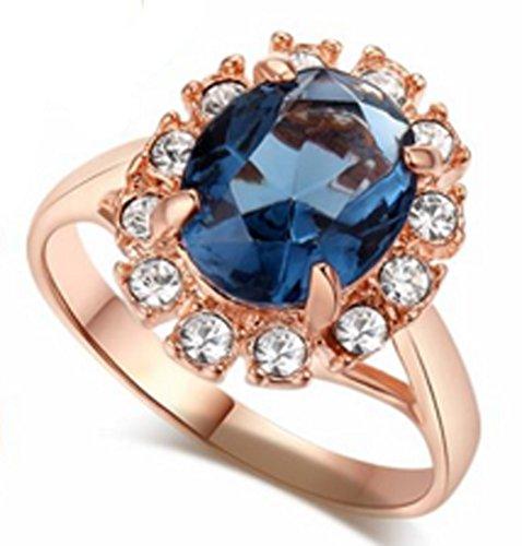 SaySure - 18K Gold Plated Emerald Finger Rings Elegant (SIZE : 9) (Rose Gold-emerald-cut-ringe)