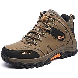 YITU para Hombre Otoño Invierno Botas de Senderismo Impermeables de Ocio al Aire Libre Zapatos de Deporte Zapatillas de Senderismo Cordones Trainer Botas 41