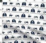 Scheune, Kuh, Huhn, Traktor, Marineblau, Stoffe -