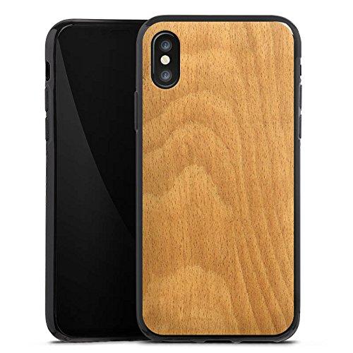 Apple iPhone X Silikon Hülle Case Schutzhülle Holz Look Funier Silikon Case schwarz