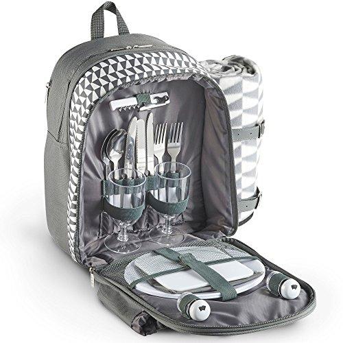 VonShef Geo Picknick-Rucksack grau mit Decke für 2 Personen