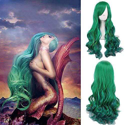 CPalsen Yuyi die Meerjungfrau Cosoplay Perücke Grün Langer Körper Welle Mode Frisur Celebrity Lady Gaga Wear S Haar Hitzebeständig tägliche Halloween Perücke