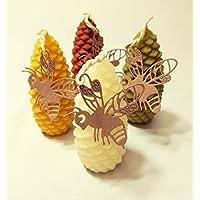 Handgemachte Honig Kerze aus Bienenwachs Motiv Tannenzapfen Bienenwachskerzen, Beeswax Candles