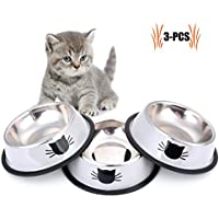 Legendog Futternapf Katze, 3 Stück Edelstahl Rutschfest Katzen Napf   Katzennapf Set   Fressnapf Katze   Futterschüssel Katze   Wasser Fütterung Schüssel