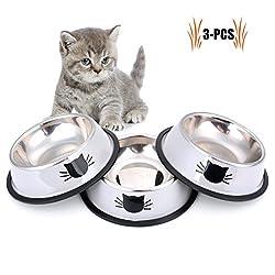 Legendog Feeding Bowl Cat, 3 Pieces Stainless Steel Non-slip Cats Bowl (Gray 3PCS)