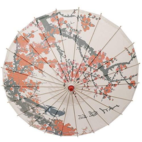 perfeclan Sonnenschirm Stockschirm Tanz Schirm Dekoschirm mit Orientalischen Artkunst, 57 x 83 cm - Pflaumenblüte