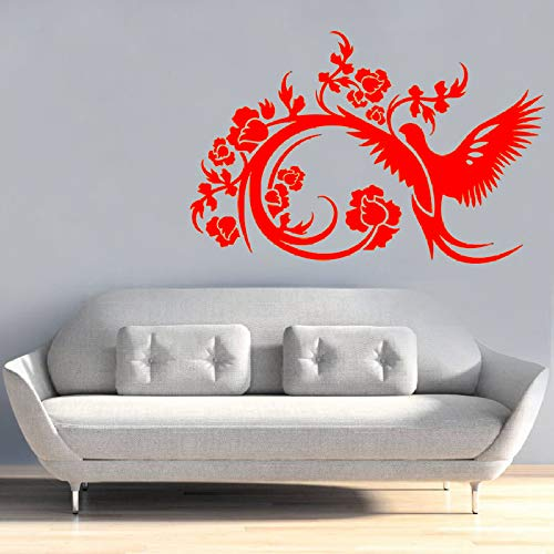 yiyiyaya Wandtattoo Wohnzimmer Sofa Hintergrund Dekoration Schlafzimmer Wandaufkleber Kunst Abnehmbare Aufkleber rot 43x28cm