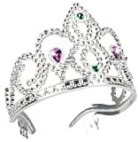 Diadem Krone silber lila-blau für Prinzessin-Kostüm | elegantes Krönchen für Königin-Kostüm | Karnevals-Zubehör für Mittelalter-Kostüm | für Prinzessinnen & Königinnen-Kostüme | Karneval & Fasching