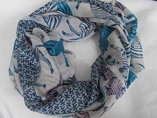 Fat-catz-copy-catz - Femmes - Écharpe, châle, sarong long bicolore avec bordure zèbre tendance Bleu zèbre & bordure